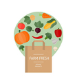 Market bag and vegetables icons vector image