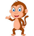 monkey cartoon presenting vector image vector image