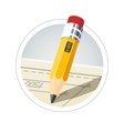 Pencil with eraser for drawing vector image vector image