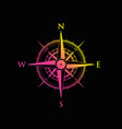 pink and yellow compass vector image vector image