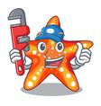 plumber underwater sea in the starfish mascot vector image vector image