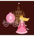 princess cinderela with shoes carriage and castle vector image