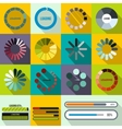 Progress bar and loading icons set flat style vector image