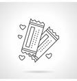 Romantic tickets flat line icon vector image