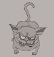 scary cartoon cat gets angry and shows his teeth vector image vector image