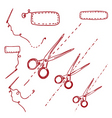 scissors needles vector image vector image