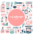set hand drawn beauty and wellness items vector image