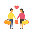 shopping people with bags vector image vector image