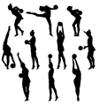 Silhouette girl gymnast with the ball vector image