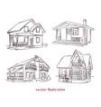 sketch set wooden house vector image vector image