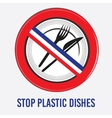 stop sign ban plastic dishes fork knife vector image
