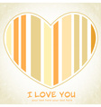 Stripped heart love greeting floral postcard vector image vector image