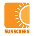 sunscreen logo flat style vector image