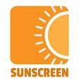 sunscreen logo flat style vector image vector image