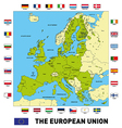 The european union map with flags vector image