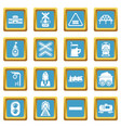 train railroad icons set sapphirine square vector image vector image