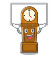 up board grandfather clock character cartoon vector image vector image