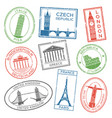 Vintage travel stamps for postcards with europe