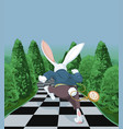 white rabbit running away vector image vector image