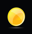 yellow glossy button on black vector image