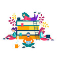 young people around a stack of books are getting vector image vector image