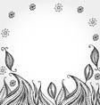 Decorative Hand dravn flowers Sketch Doodle black vector image