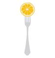 Orange on fork vector image