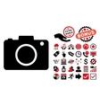 Photo Camera Flat Icon with Bonus vector image