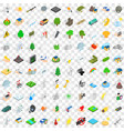 100 fire icons set isometric 3d style vector image vector image