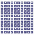 100 forest icons set grunge sapphire vector image vector image