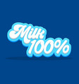 100 percent milk typography on blue background vector image vector image