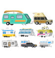 a set of trailers or family rv camping caravan vector image vector image