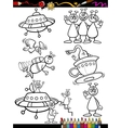 Aliens Cartoon Set for coloring book vector image vector image