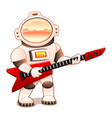 astronaut with red guitar vector image