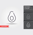 avocado line icon with editable stroke with vector image vector image