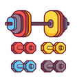 Barbell and dumbbell icons vector image