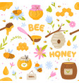 bees honey seamless pattern healthy natural bee vector image vector image