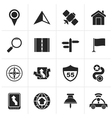 Black Gps navigation and road icons vector image