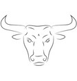 black line bull head on white background hand vector image vector image