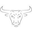Black line bull head on white background hand