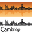 Cambridge skyline in orange background vector image vector image