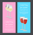 cocktail party your invitation poster set red wine vector image vector image
