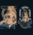 colorful of mermaid at the anchor in tattoo style vector image vector image