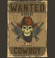 cowboy skull with guns vector image vector image