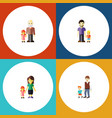 flat icon family set of son mother grandpa vector image vector image