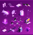global network isometric icons vector image