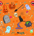halloween seamless pattern in cartoon style vector image vector image