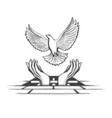 hands releasing dove from jail tattoo vector image