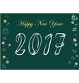 Happy New Year 2017 White chalk and flowers vector image vector image