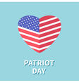 Heart shape flag Star and strip Patriot day Flat vector image vector image